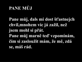 PANE MŮJ