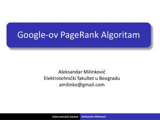 Google-ov PageRank Algoritam