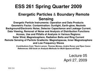 Energetic Particles  &  Boundary Remote Sensing