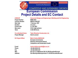 European Commission  Project Details and EC Contact