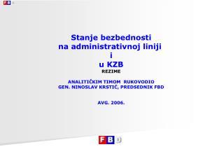 Stanje bezbednosti na administrativnoj liniji  i u KZB REZIME ANALITIČKIM  TIMOM  RUKOVODIO