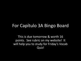 For  Cap ítulo  3A Bingo Board