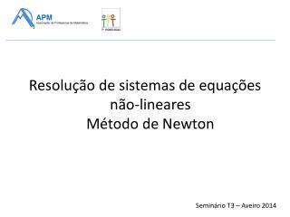 Resolução de sistemas de equações não-lineares Método de Newton