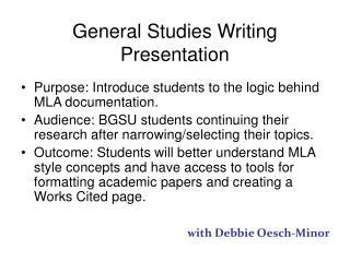 General Studies Writing Presentation