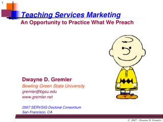 Teaching Services Marketing An Opportunity to Practice What We Preach
