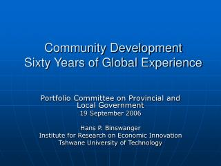 Community Development  Sixty Years of Global Experience