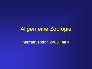 Allgemeine Zoologie