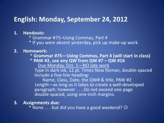 English: Monday, September 24, 2012