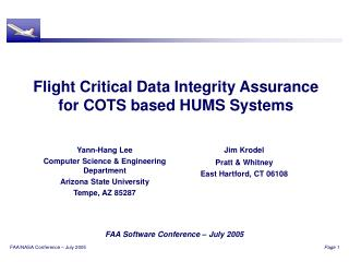 Flight Critical Data Integrity Assurance for COTS based HUMS Systems