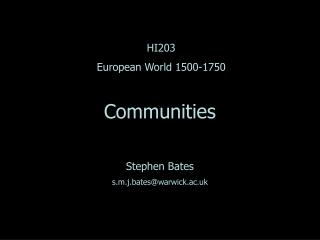 HI203 European World 1500-1750