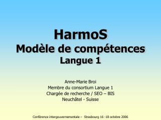 Anne-Marie Broi Membre du consortium Langue 1 Chargée de recherche / SEO – BIS Neuchâtel - Suisse