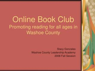 Online Book Club Promoting reading for all ages in Washoe County