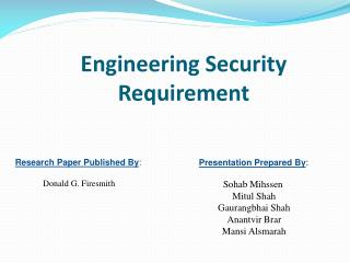 Engineering Security  Requirement
