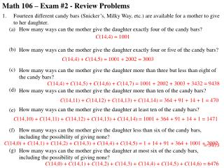Math 106 – Exam #2 - Review Problems