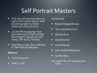 Self Portrait Masters