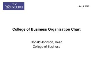 College of Business Organization Chart