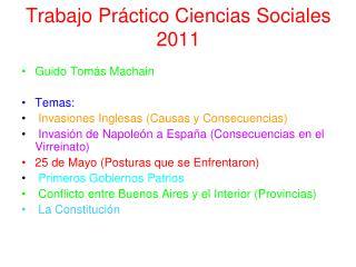 Trabajo Pr�ctico Ciencias Sociales 2011