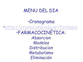 MENU DEL DIA Cronograma cronos.unq.ar/farmaco FARMACOCINÉTICA: Absorcion Modelos