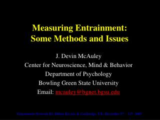 Measuring Entrainment: Some Methods and Issues