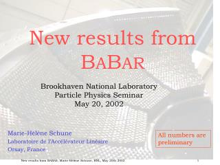 New results from B A B AR