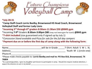 Future Champions Volleyball Camp