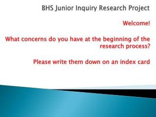 BHS Junior Inquiry Research Project