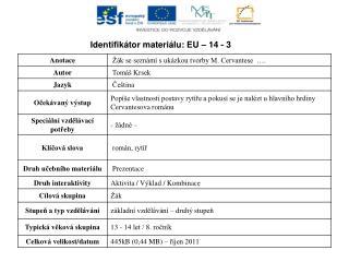 Identifikátor materiálu: EU – 14  -  3