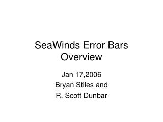 SeaWinds Error Bars Overview