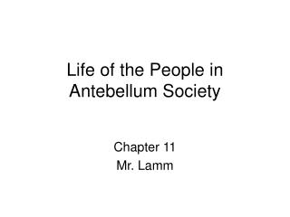 Life of the People in Antebellum Society