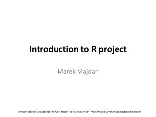 Introduction  to R  project