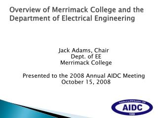 Overview of Merrimack College and the Department of Electrical Engineering