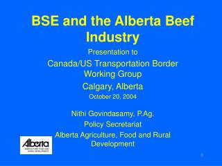 BSE and the Alberta Beef Industry