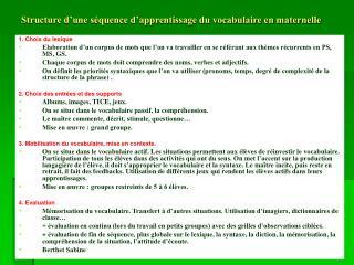 Structure d'une séquence d'apprentissage du vocabulaire en maternelle