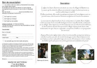 Description  : L'église de Saint Antoine est située au cœur du village de Mottereau.
