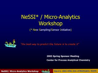 2003 Spring Sponsor Meeting  Center for Process Analytical Chemistry