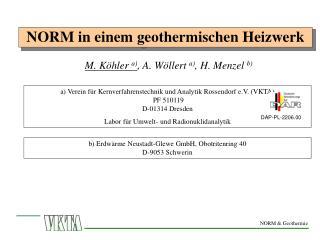NORM in einem geothermischen Heizwerk