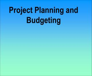 Project Planning and Budgeting