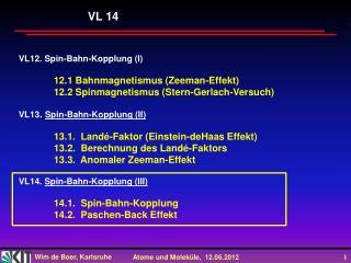 VL12. Spin-Bahn-Kopplung (I) 12.1 Bahnmagnetismus (Zeeman-Effekt)