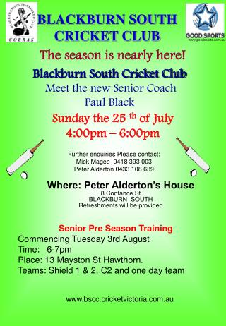 BLACKBURN SOUTH CRICKET CLUB