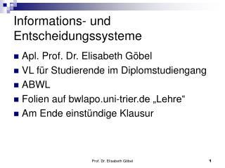 Informations- und Entscheidungssysteme