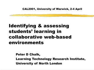 Identifying & assessing students' learning in collaborative web-based environments