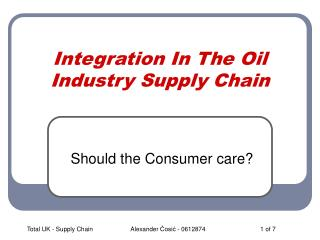 Integration In The Oil Industry Supply Chain