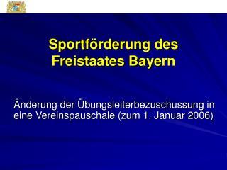 Sportförderung des Freistaates Bayern
