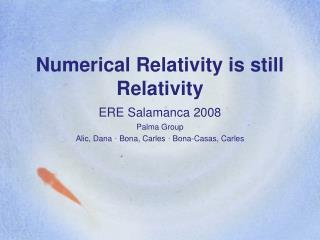 Numerical Relativity is still Relativity