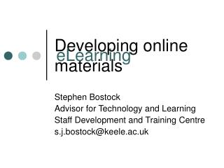 Developing online materials