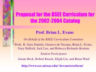 Proposal for the BSEE Curriculum for the 2002-2004 Catalog