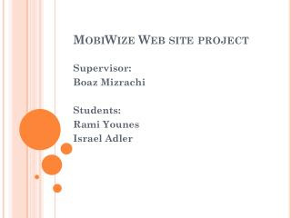 MobiWize Web site project