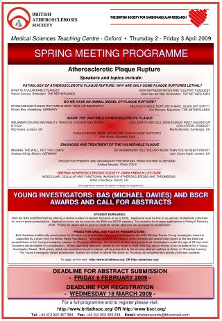 YOUNG INVESTIGATORS: BAS (MICHAEL DAVIES) AND BSCR AWARDS A ND CALL FOR ABSTRACTS