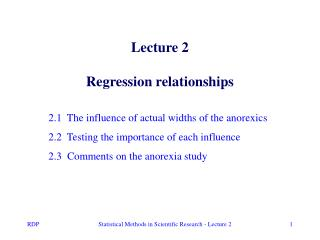 Lecture 2 Regression relationships
