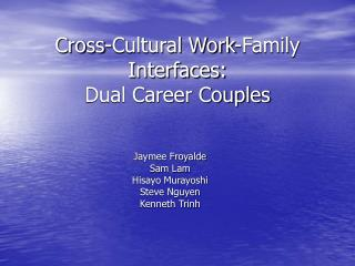 Cross-Cultural Work-Family Interfaces: Dual Career Couples